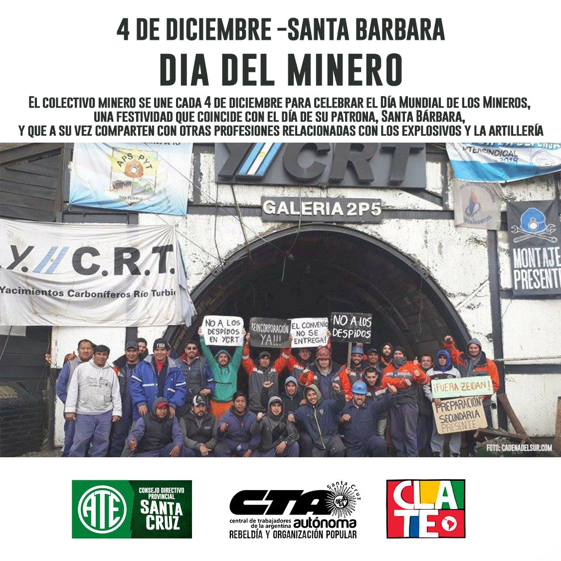 ATE Santa Cruz Saluda a los Trabajadores Mineros